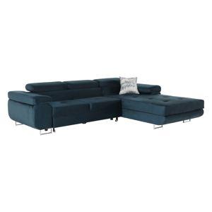 TEMPO KONDELA Amareta P rohová sedačka s rozkladom a úložným priestorom modrá