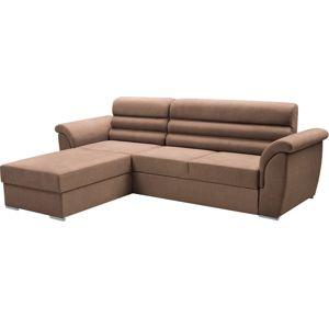 TEMPO KONDELA Fabo L rohová sedačka s rozkladom a úložným priestorom hnedá