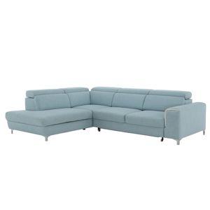 TEMPO KONDELA Gevona L rohová sedačka s rozkladom a úložným priestorom krémová / mentolové šitie / chróm