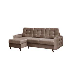 TEMPO KONDELA Medlin L/P rohová sedačka s rozkladom a úložným priestorom hnedá / wenge
