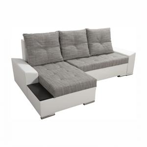TEMPO KONDELA Nemo 2 New L rohová sedačka s rozkladom a úložným priestorom biela / sivohnedá