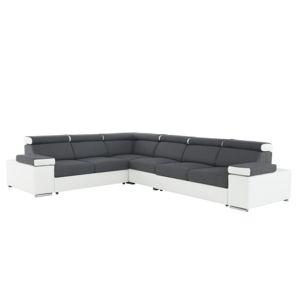 TEMPO KONDELA Marbela Lux 2+3 P rohová sedačka s rozkladom sivá / biela