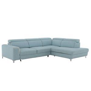 TEMPO KONDELA Gevona P rohová sedačka s úložným priestorom krémová / mentolové šitie / chróm