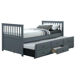 TEMPO KONDELA Austin New 90 rozkladacia posteľ s prísteľkou sivá