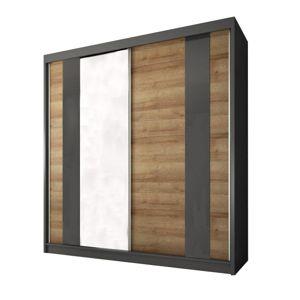 TEMPO KONDELA Manno 2D šatníková skriňa s posuvnými dverami a zrkadlom dub riviera zlatý / grafit