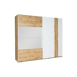 TEMPO KONDELA Vodena 200 šatníková skriňa s posuvnými dverami a zrkadlom dub wotan / biela