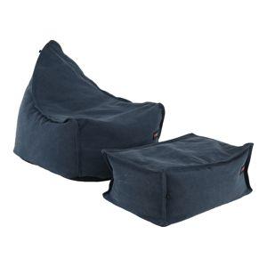 TEMPO KONDELA Liton sedací vak s taburetkou jeansová