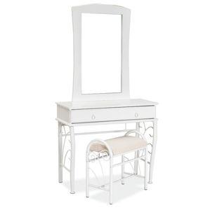SIGNAL 1102 rustikálny toaletný stolík so zrkadlom biela