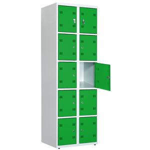 NABBI SK300-010 boxová šatňová skriňa svetlosivá / zelená