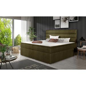 NABBI Spezia 140 čalúnená manželská posteľ s úložným priestorom khaki