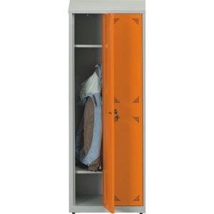 NABBI SUS 300 02 školská šatňová skrinka s dvoma komorami svetlosivá / oranžová