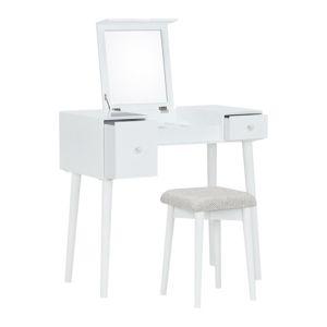 TEMPO KONDELA Marvel toaletný stolík s taburetkou biela / hnedá