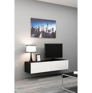 CAMA MEBLE Vigo 140 tv stolík na stenu čierna / biely lesk