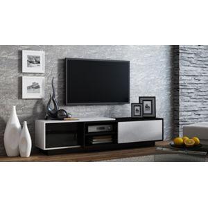 CAMA MEBLE Sigma 1B tv stolík čierna / biely lesk / čierny lesk