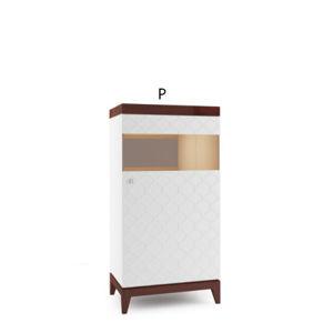 TARANKO Via VI-W3/4 P vitrína biely mat / mahagón vysoký lesk