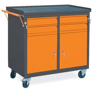 NABBI WW01G/CC dielenský vozík na kolieskach so zámkom grafit / oranžová