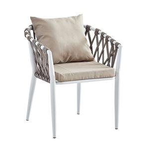TEMPO KONDELA Sirma záhradná stolička sivohnedá (taupe) / biela
